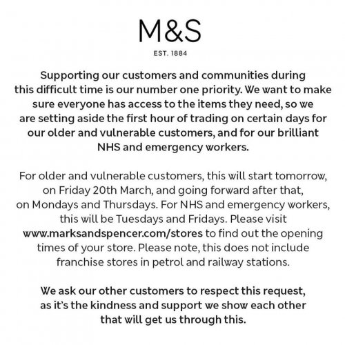 COVID-19 - Marks and Spencer update